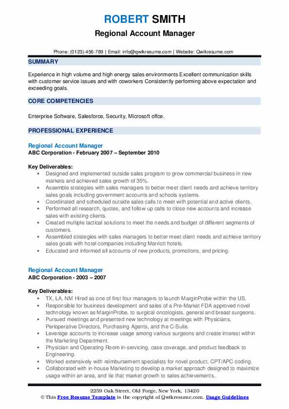 Regional Account Manager Resume example