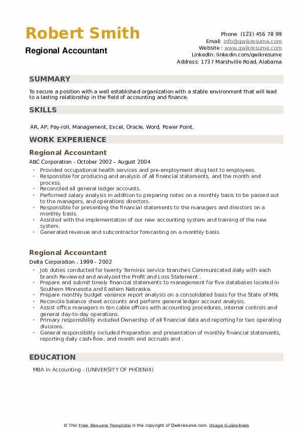Regional Accountant Resume example
