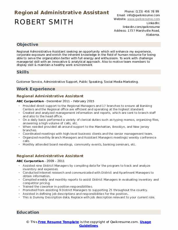 Regional Administrative Assistant Resume example