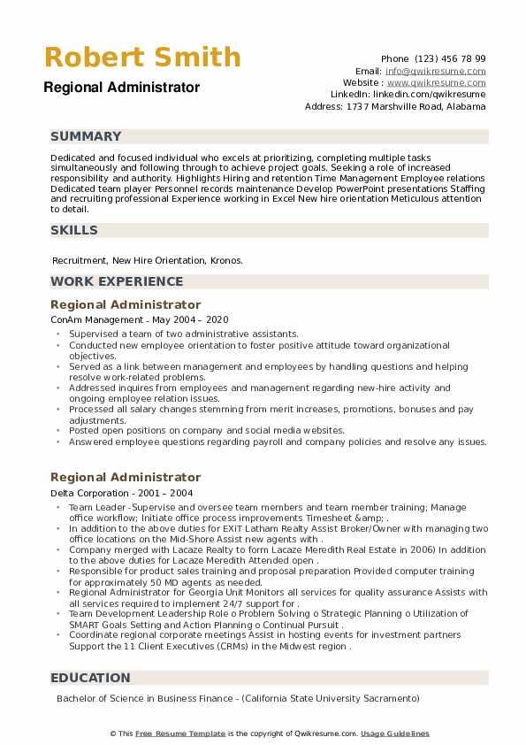 Regional Administrator Resume example