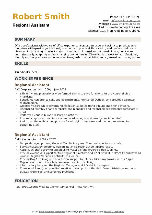 Regional Assistant Resume example