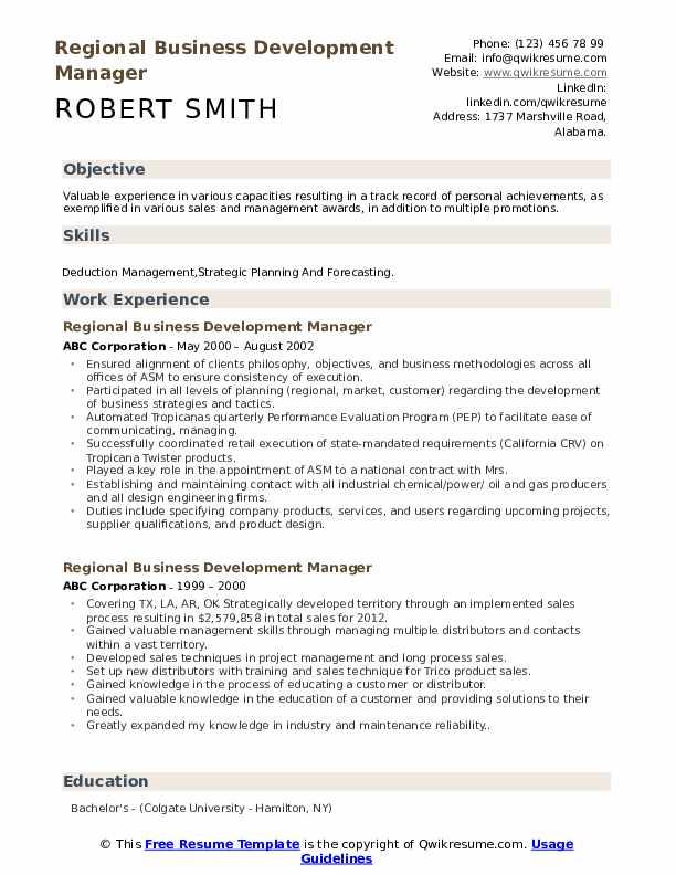 Regional Business Development Manager Resume Samples Qwikresume