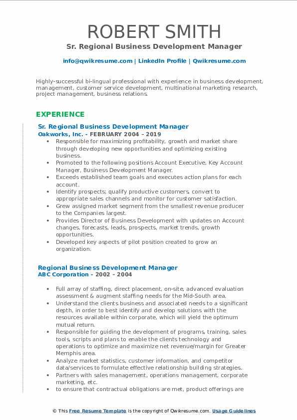 regional business development manager resume samples