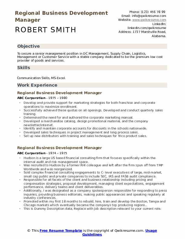 Regional Business Development Manager Resume example