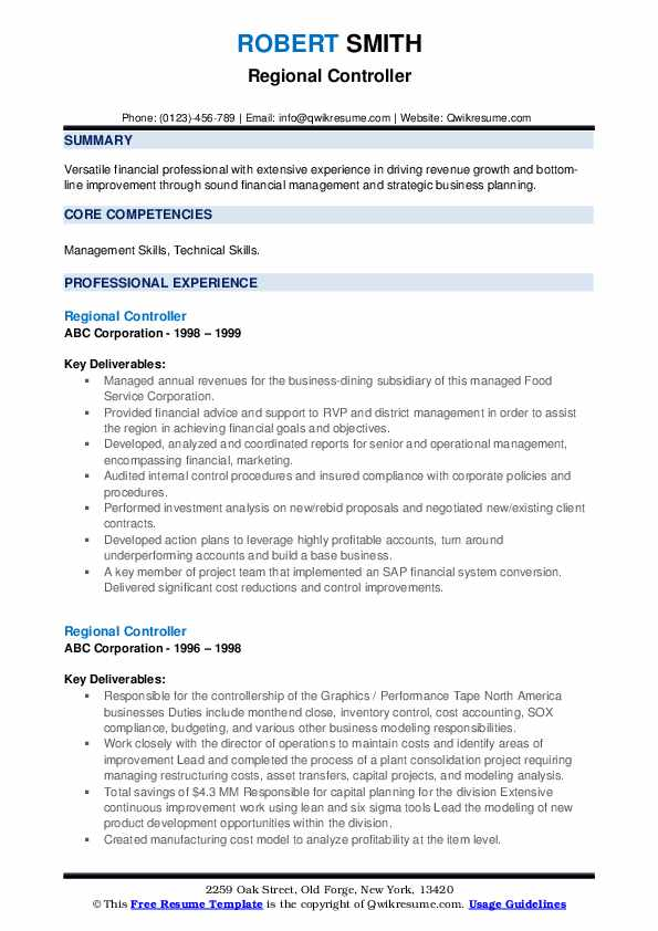 Regional Controller Resume example
