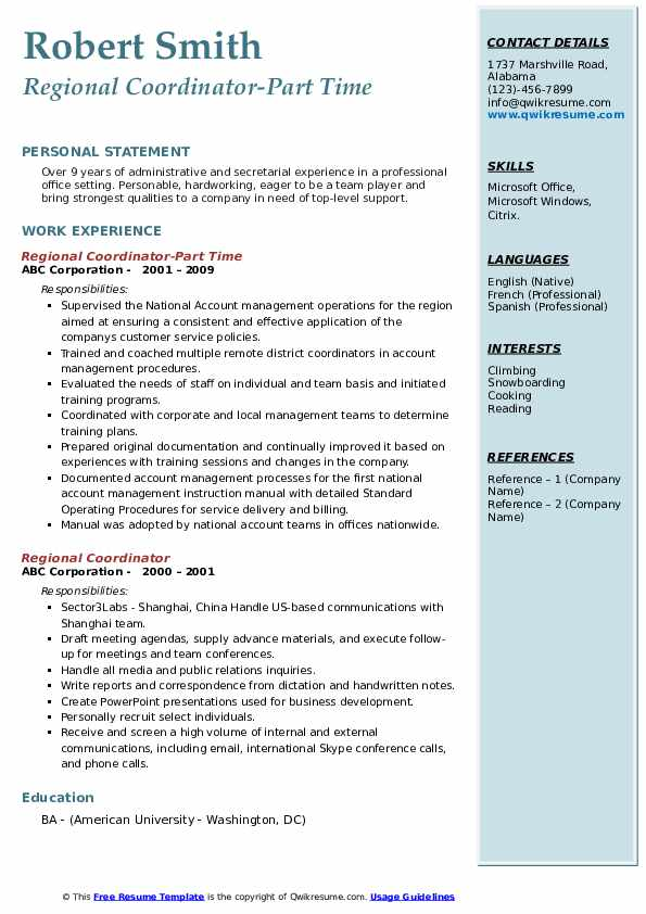 Regional Coordinator-Part Time Resume Model