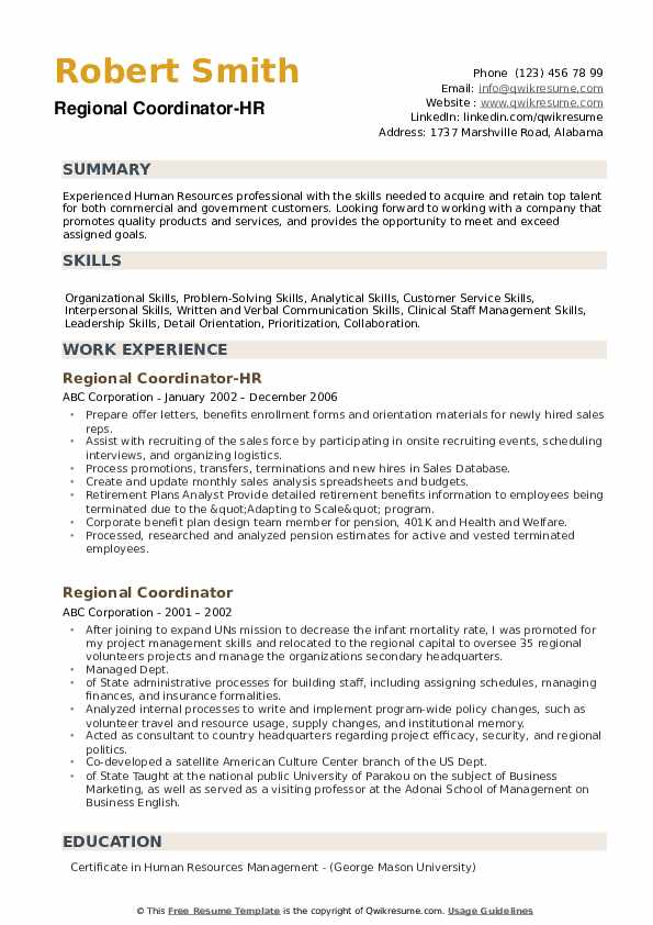 Regional Coordinator-HR Resume Sample