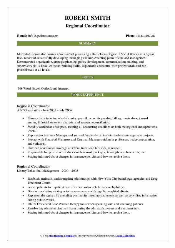 Regional Coordinator Resume example