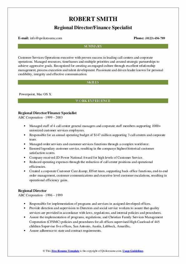 Regional Director/Finance Specialist Resume Template