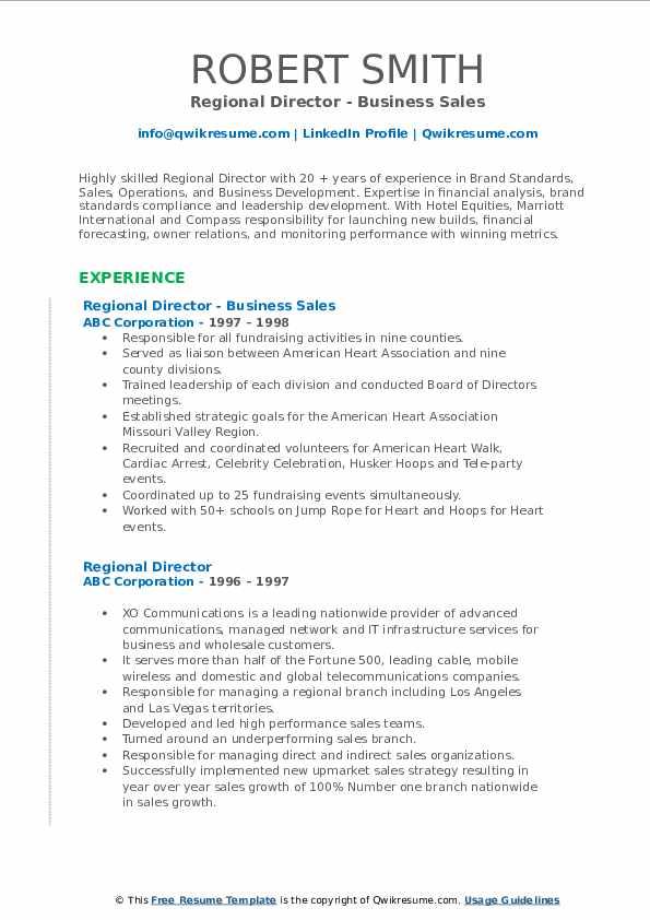 Regional Director - Business Sales Resume Model