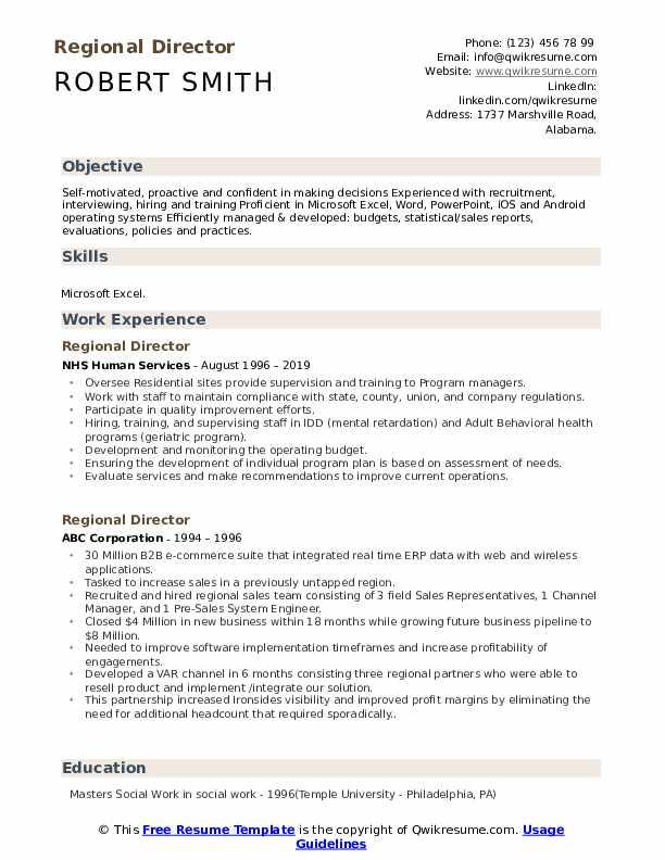 Regional Director Resume example