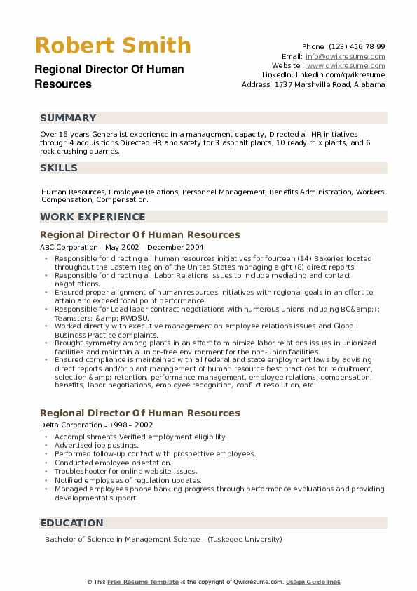 Regional Director Of Human Resources Resume example