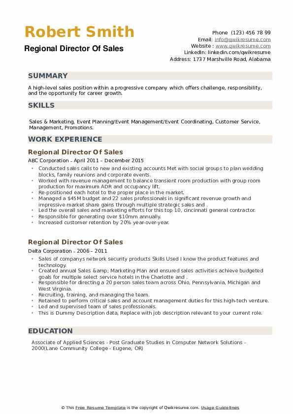 Regional Director Of Sales Resume example
