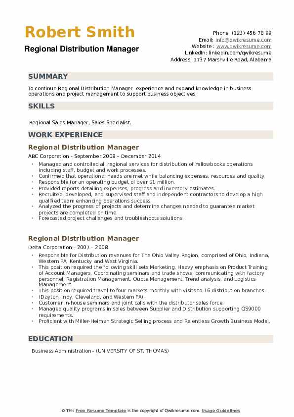 Regional Distribution Manager Resume example