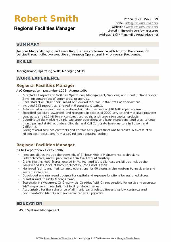 Regional Facilities Manager Resume example