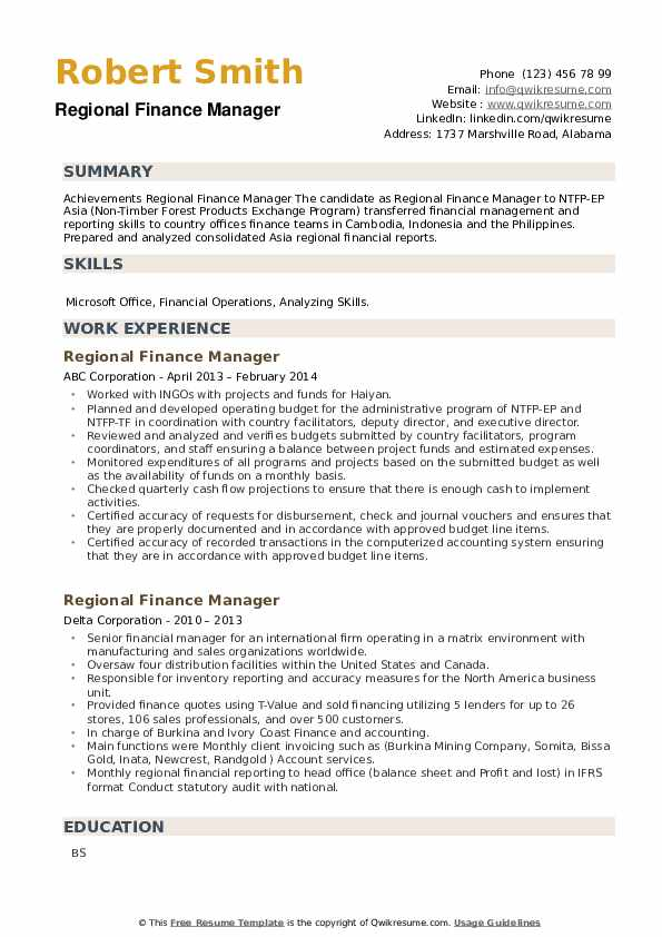 Regional Finance Manager Resume example