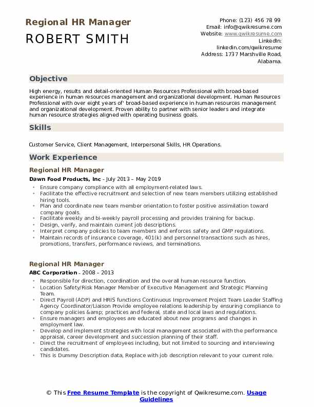 Regional HR Manager Resume example