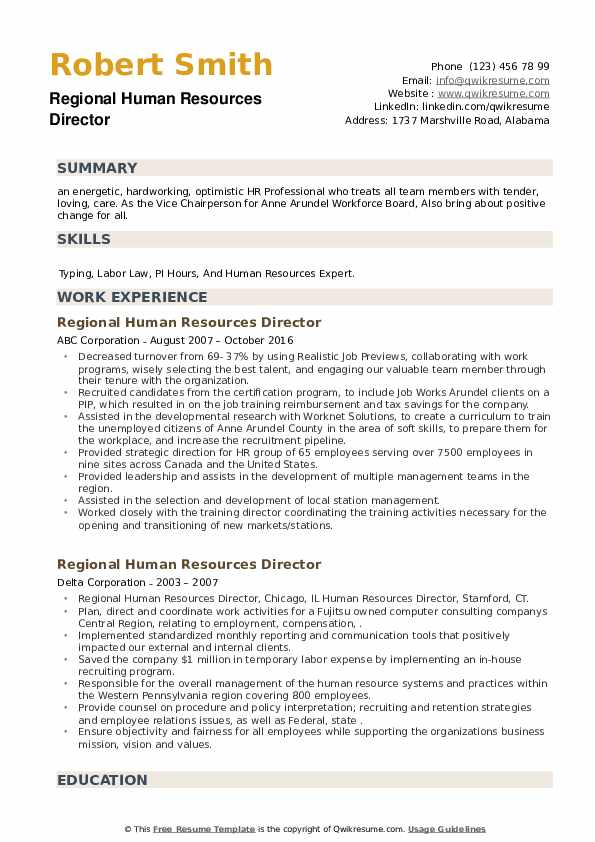 Regional Human Resources Director Resume example