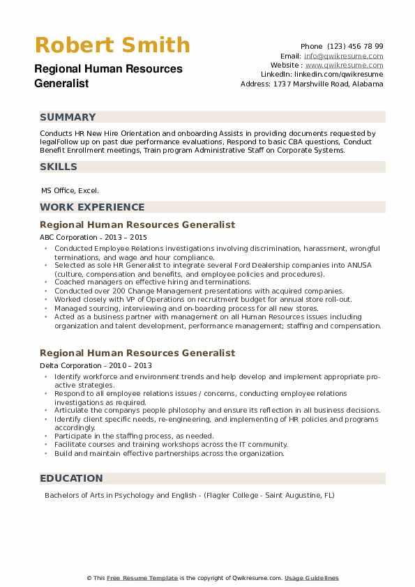 Regional Human Resources Generalist Resume example