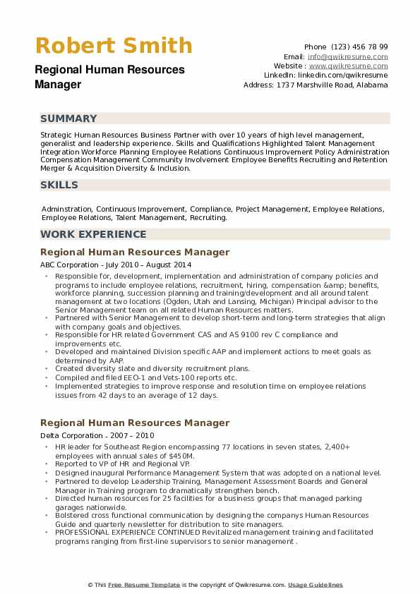 Regional Human Resources Manager Resume example