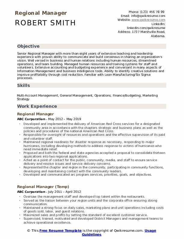 Regional Manager Resume Sample