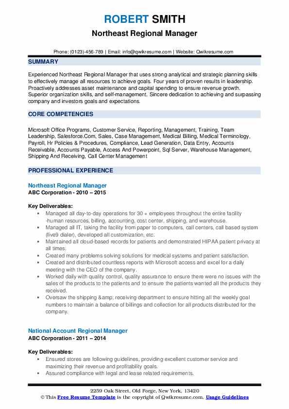 Northeast Regional Manager Resume Model
