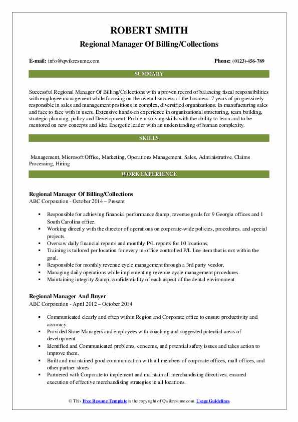 Regional Manager Of Billing/Collections Resume Format