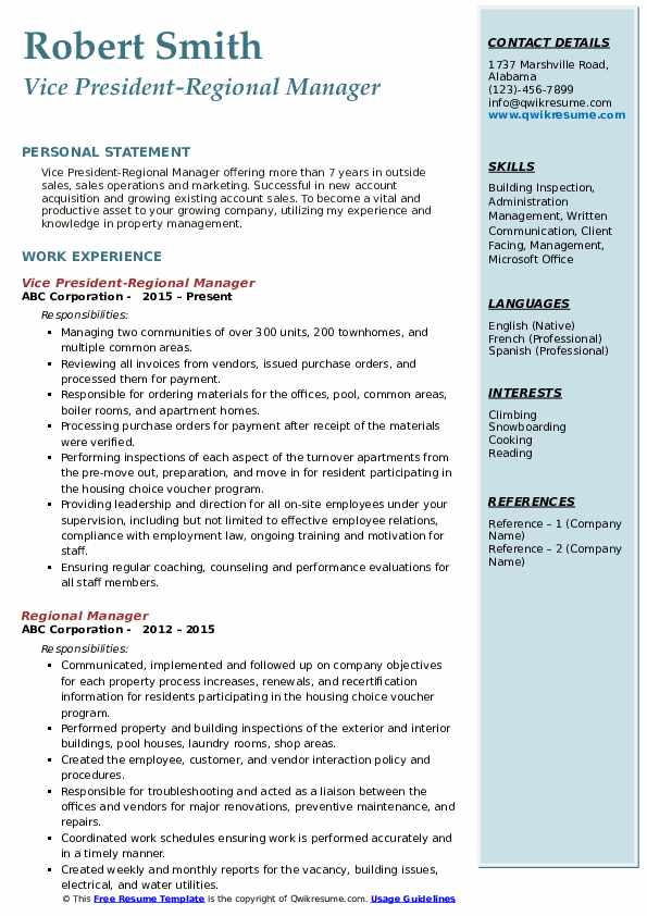 regional manager resume samples