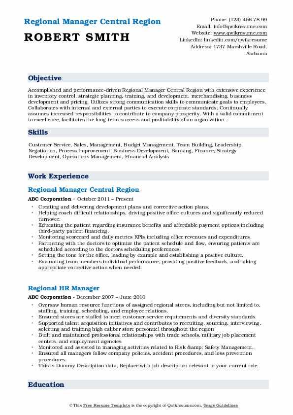 Regional Manager Central Region Resume Sample