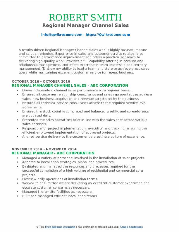 Regional Manager Channel Sales Resume Format