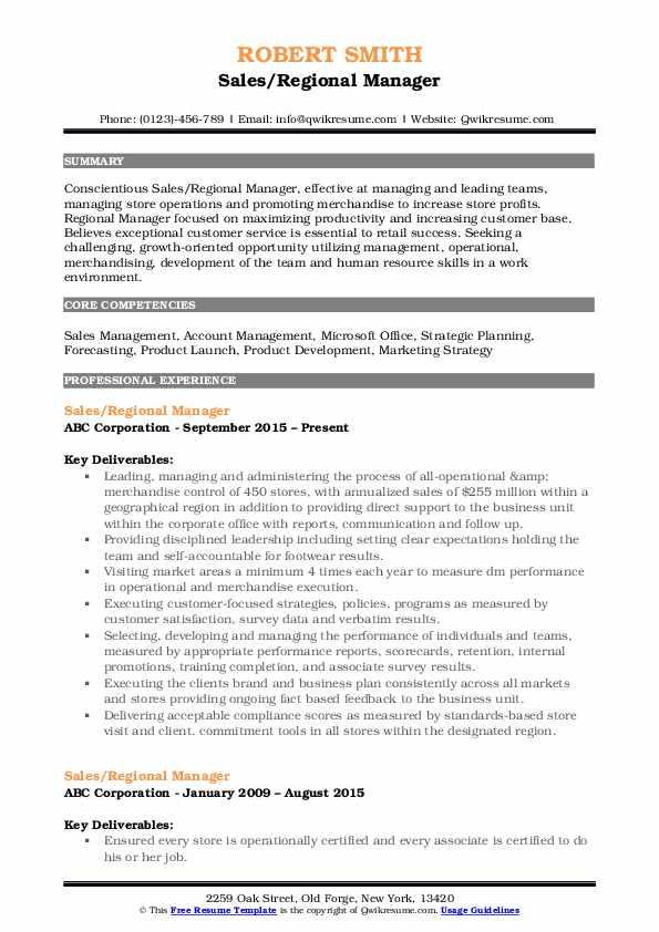 Sales/Regional Manager Resume Sample