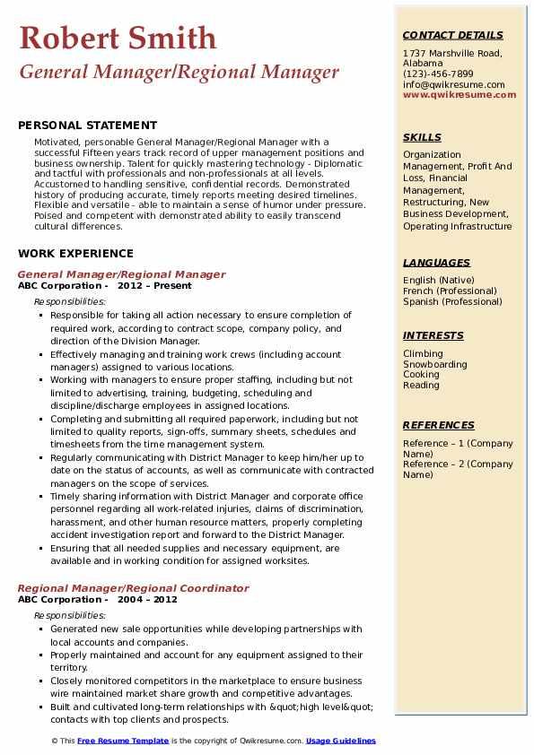 General Manager/Regional Manager Resume Model