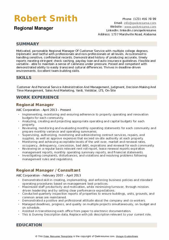 Regional Manager Resume example