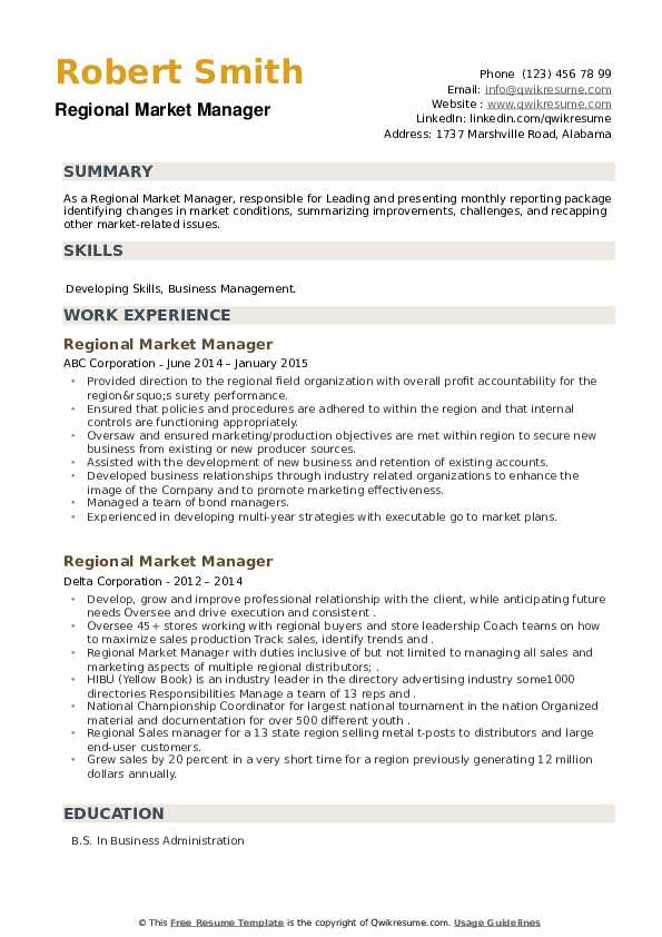 Regional Market Manager Resume example