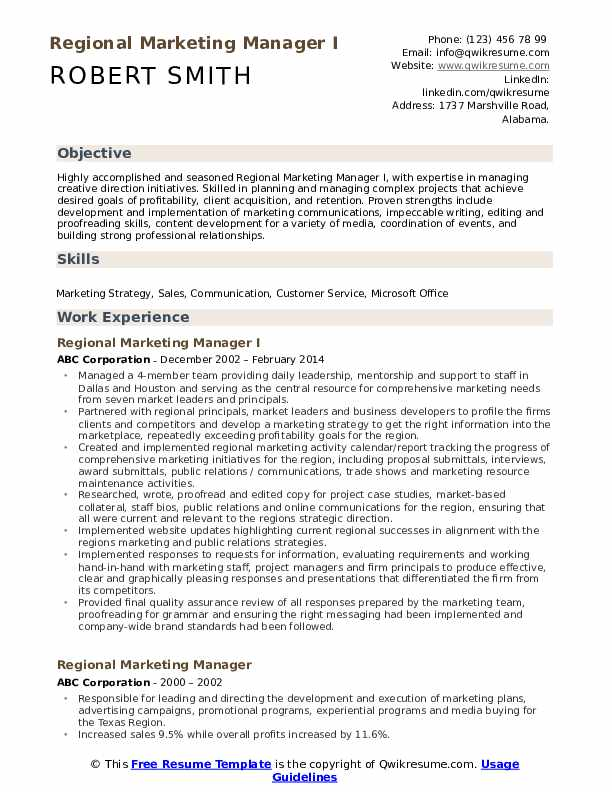 Regional Marketing Manager I Resume Template