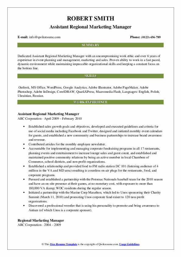 Assistant Regional Marketing Manager Resume Format