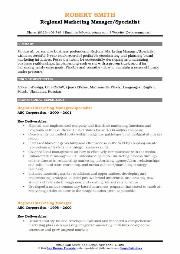 Regional Marketing Manager/Specialist Resume Sample