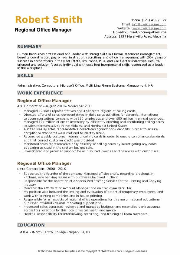 Regional Office Manager Resume example