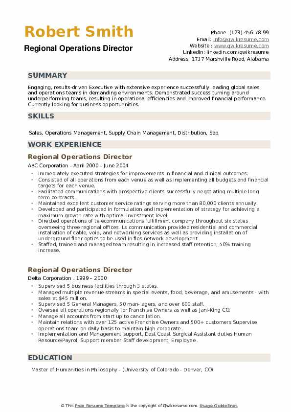 Regional Operations Director Resume example