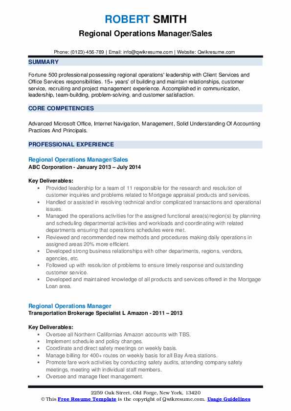 regional operations manager resume samples