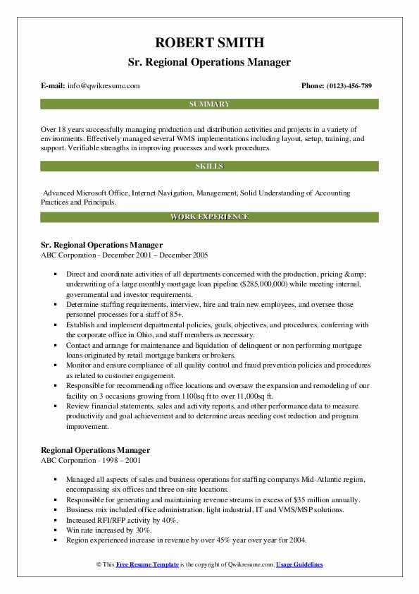 Sr. Regional Operations Manager Resume Template