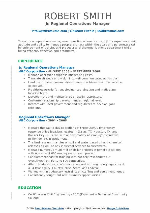 Jr. Regional Operations Manager Resume Format