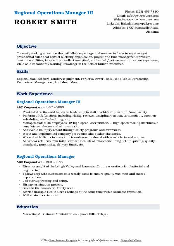 Regional Operations Manager III Resume Model