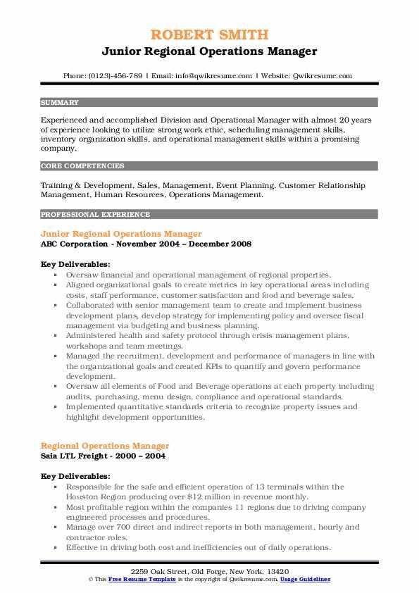 Regional Operations Manager Resume Samples | QwikResume