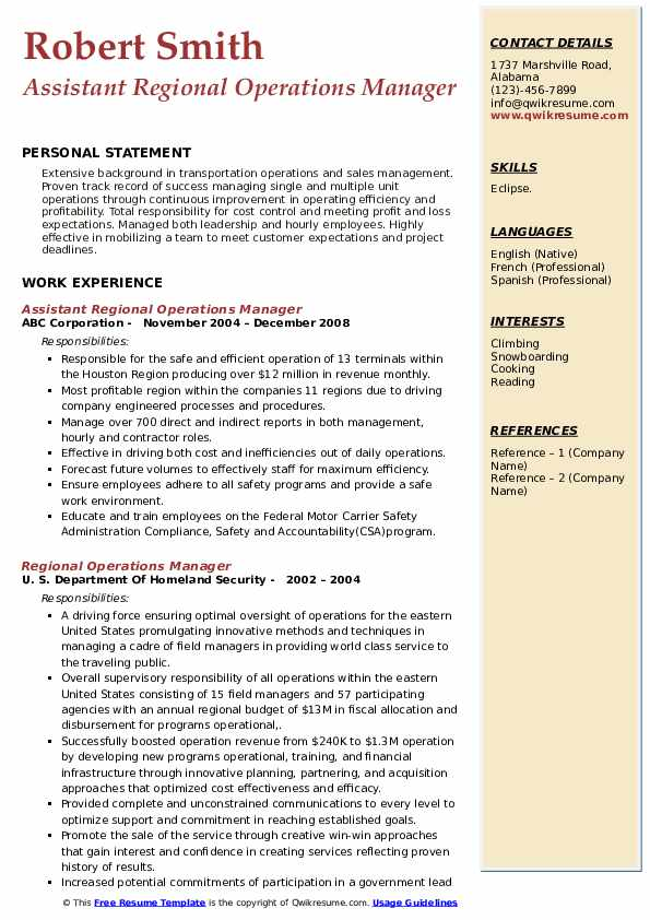 Assistant Regional Operations Manager Resume Sample