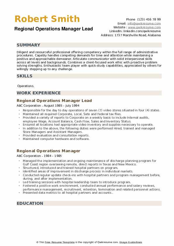 Regional Operations Manager Lead Resume Example