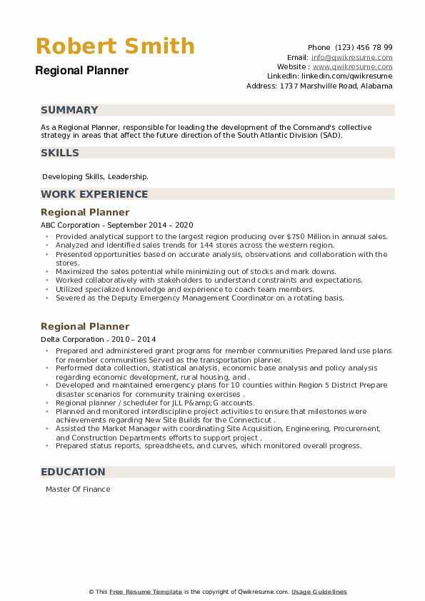 Regional Planner Resume example