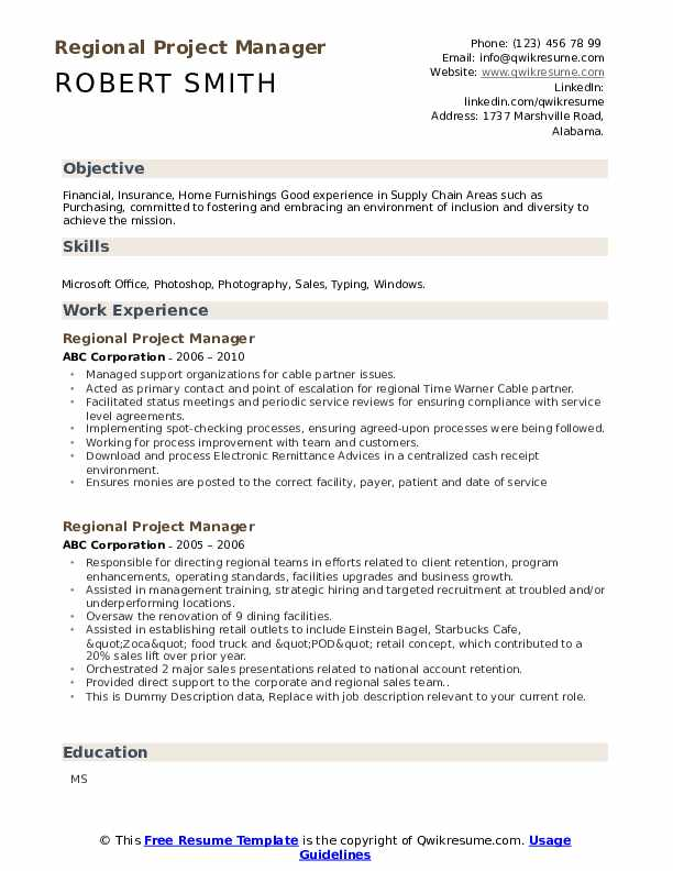 Regional Project Manager Resume example