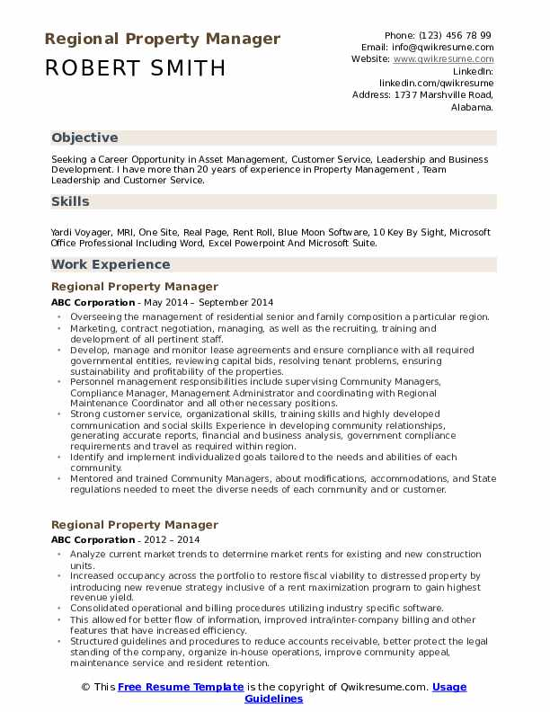 Regional Property Manager Resume Template