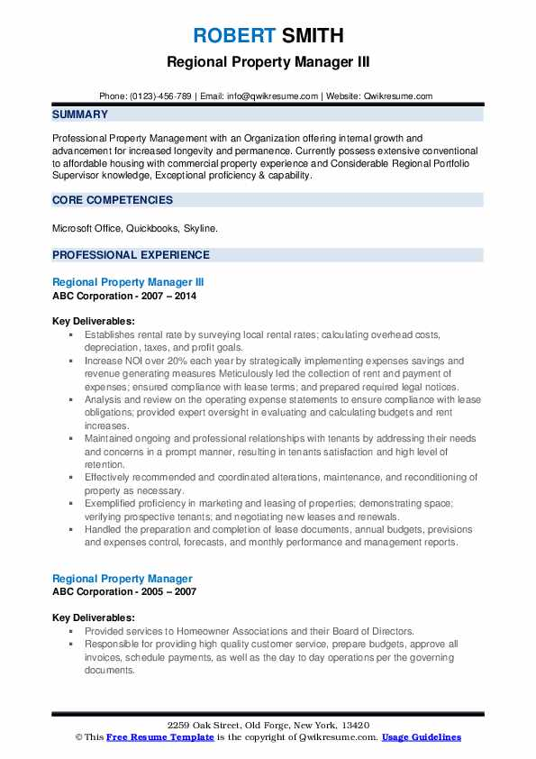 Regional Property Manager III Resume Model